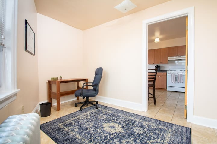 The front bedroom has a desk for you to work from and a full inflatable mattress with pump for sleeping.