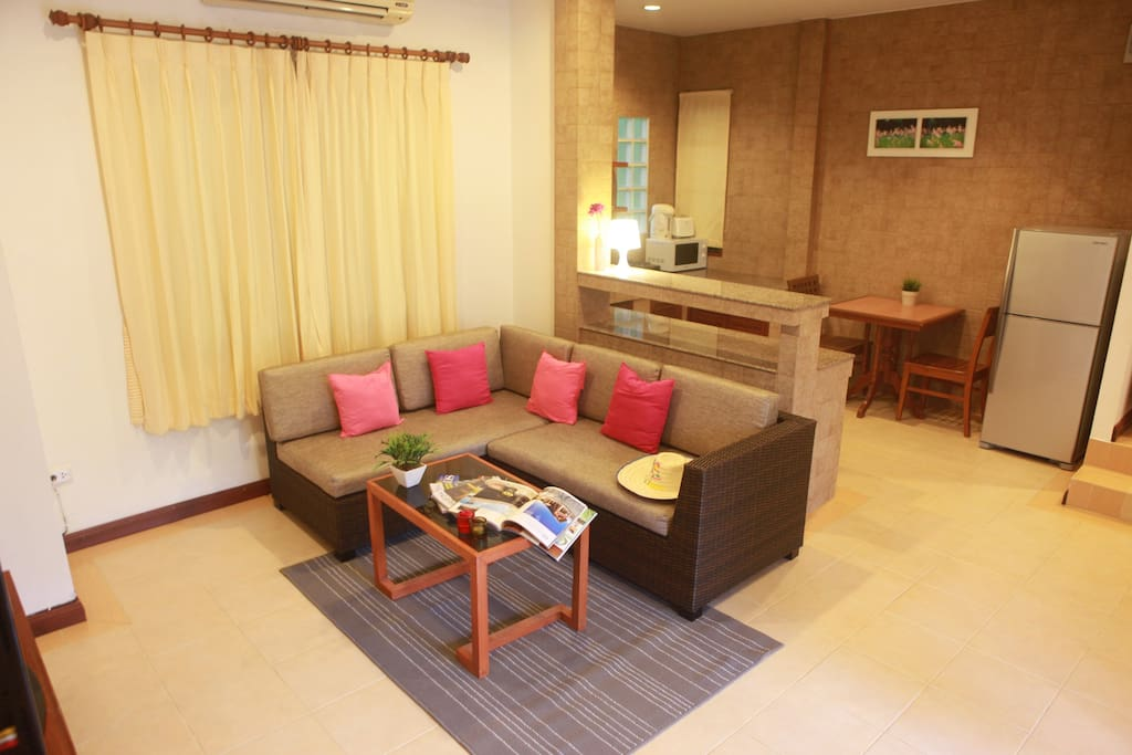Big living room with a spacious area for a small family.