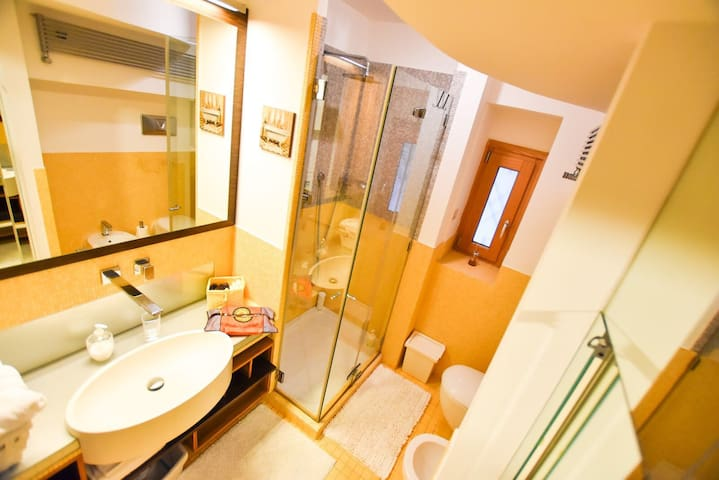 The bathroom with shower and mirror