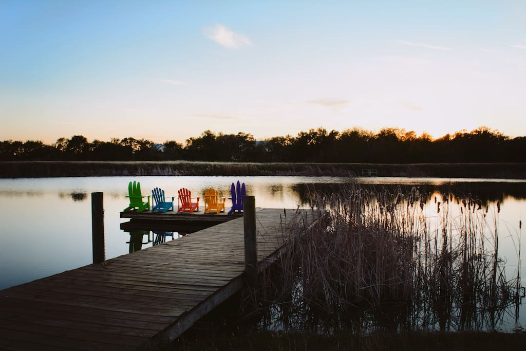 The large pond has a great dock. You are welcome to bring your own tackle for catch and release.