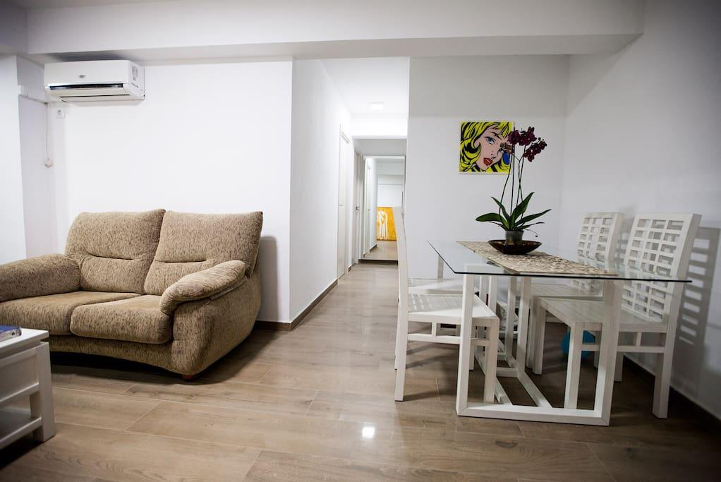 Distribuidor salón y habitaciones