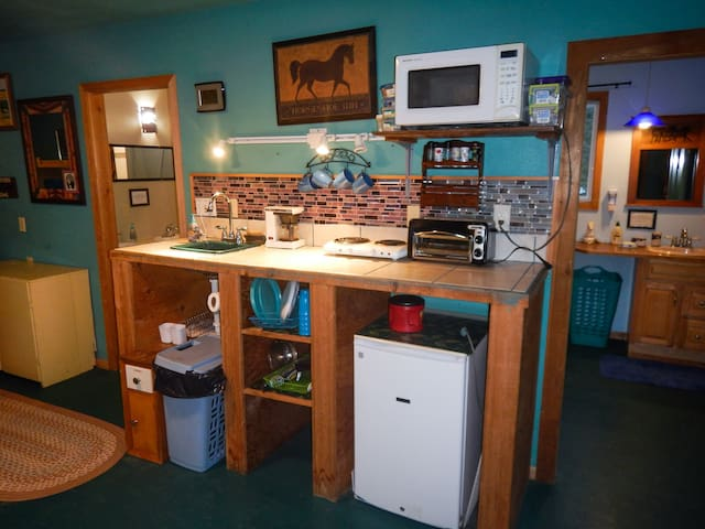 Boutique kitchenette with equestrian flare