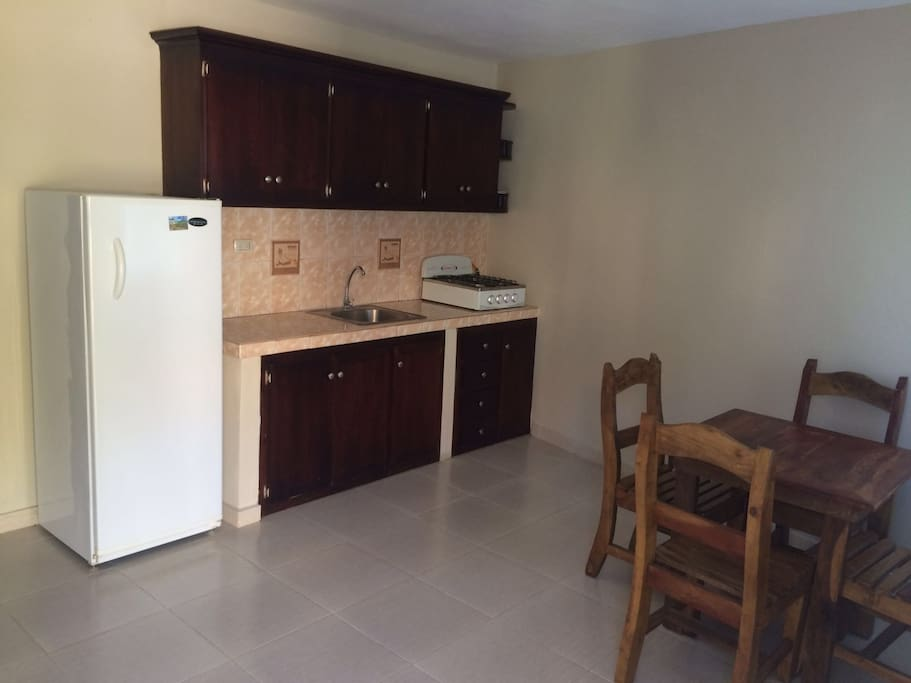 In the living area / kitchen space you will find a kitchenette, equipped with all your kitchen essentials, full size refrigerator, kitchen table that seats 4, and off to the left a love seat (couch).