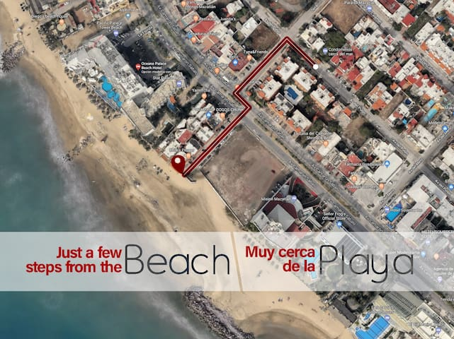 A solo 5 minutos a pie de la playa / Just 5 minutes walking distance to the beach
