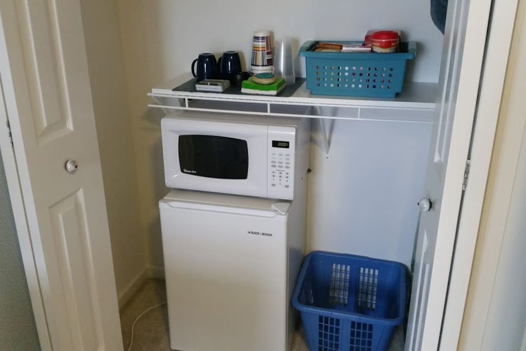 Fridge & microwave, plus snacks.