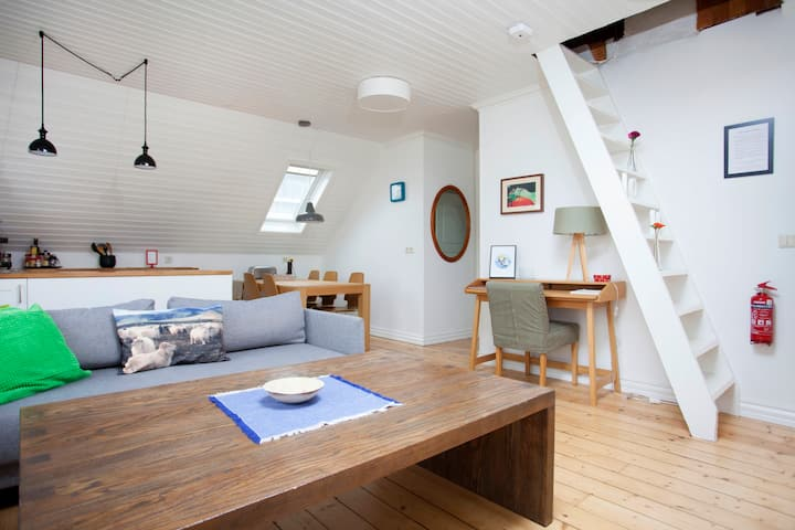 Aska apart top floor.  2 bedr. Prime Location