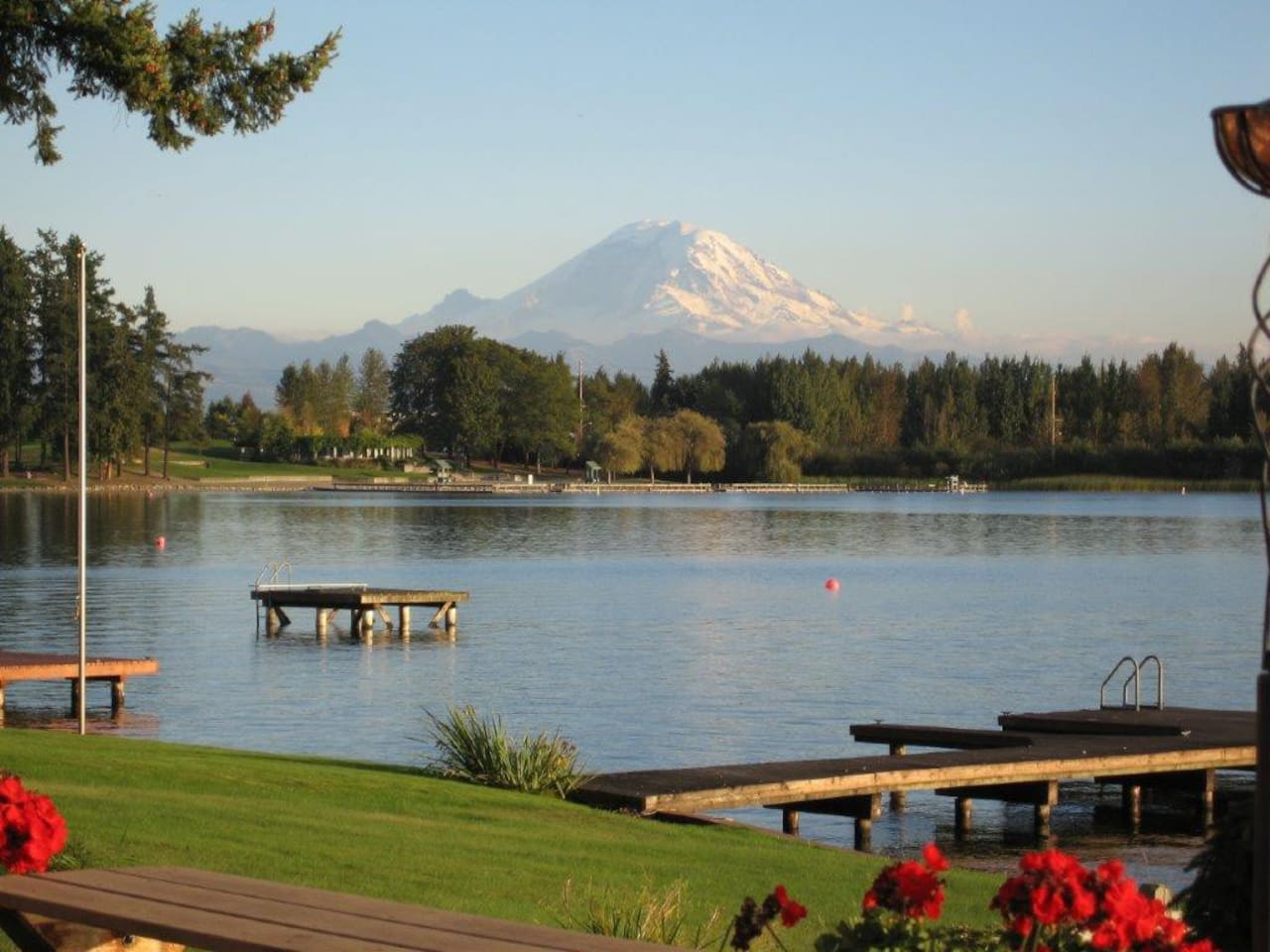 Mt Rainier and Lake Meridian.                     This is the view from the house.