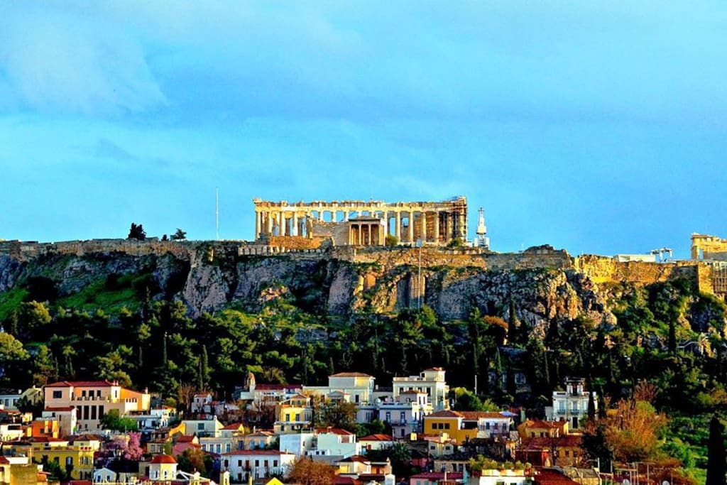 Rooftop view of Acropolis . The photo is authentic. Spring 2015