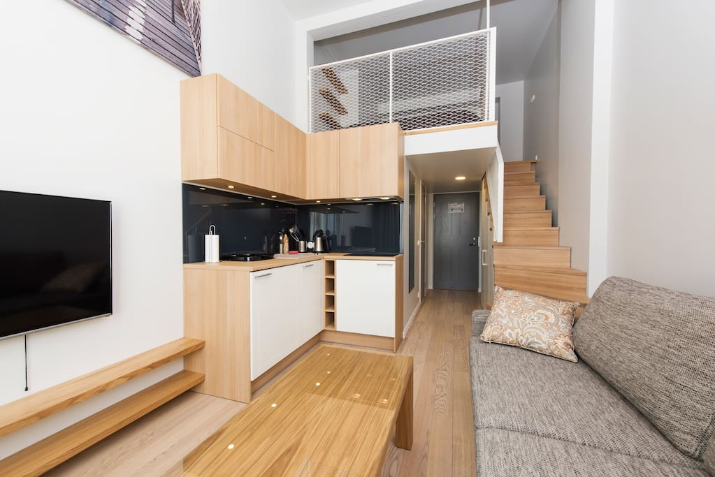 Your private 2-story flat is fully-self-contained and is complete with a modern kitchen