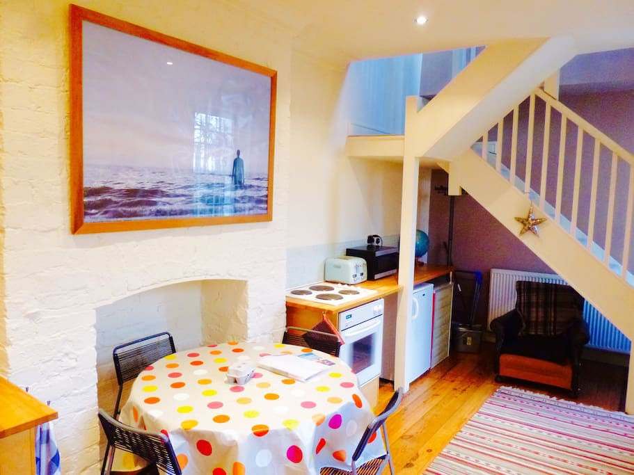 The ground-floor kitchen is nice and spacious, with everything you'll need for a perfect self-catering stay.