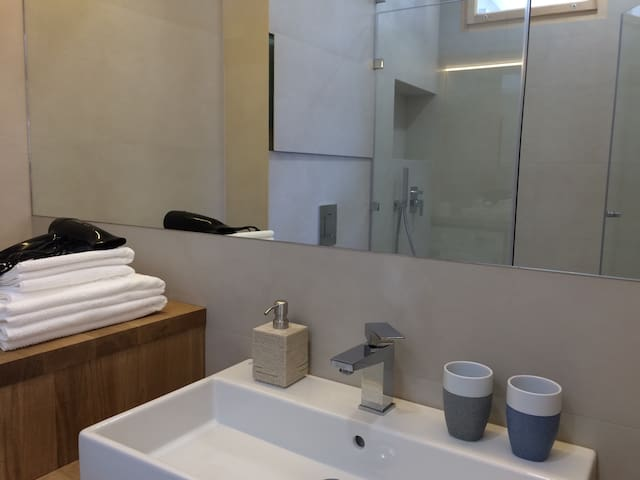 Bathroom with a spacious walk-in shower and washing-machine