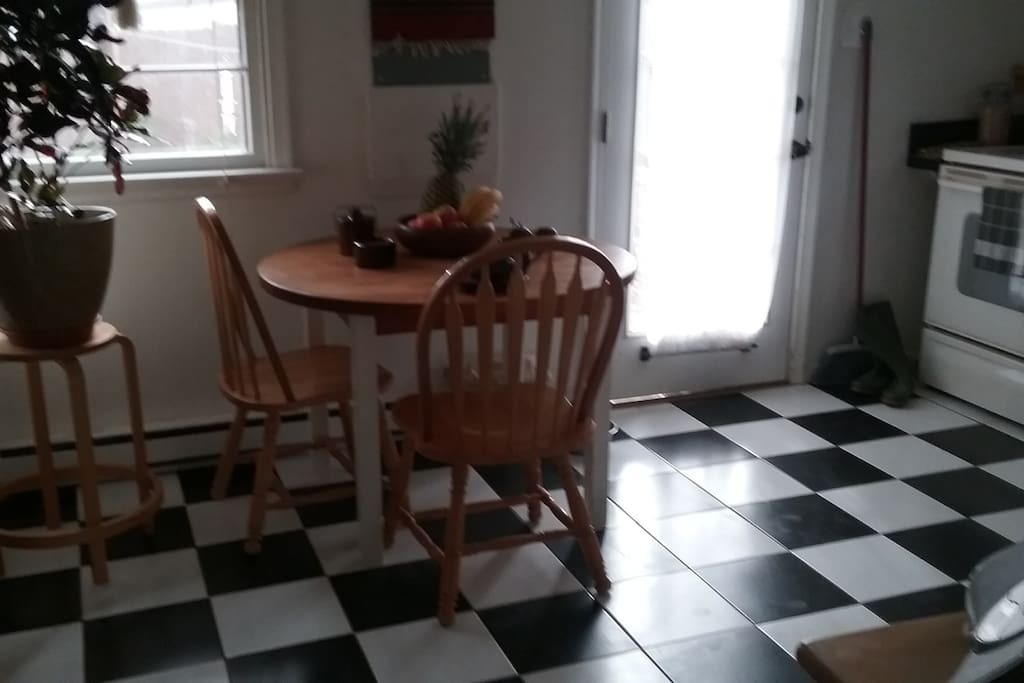 Dine-in shared kitchen for light breakfast, with cooking privileges. Stove, oven,  microwave, toaster oven, and space in refrigerator.