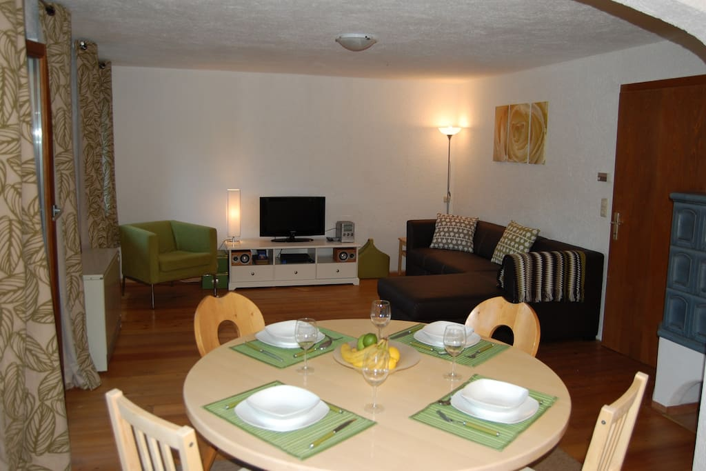 Dining table and lounge (with sofabed)
