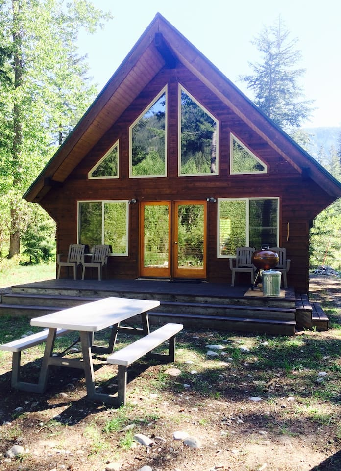Back porch, with views of a seasonal side channel (spring) of the Methow River.