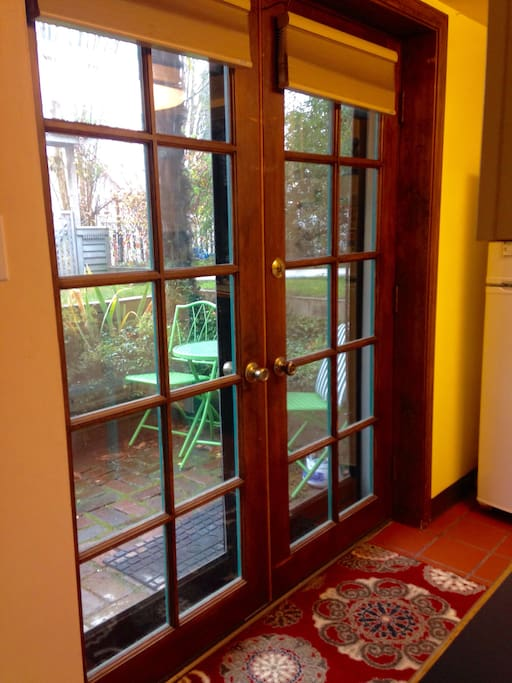 French doors into kitchen