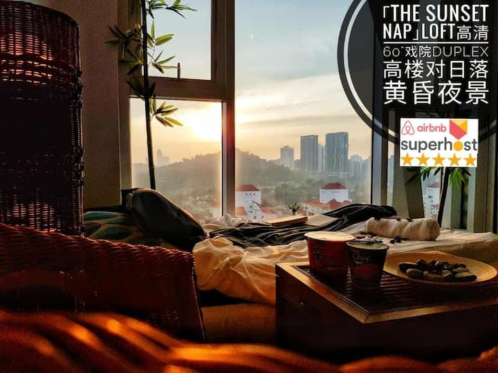 """唯独的SunsetNapLoft60""""戏院Duplex对日落黄昏夜景7minMidValley"""