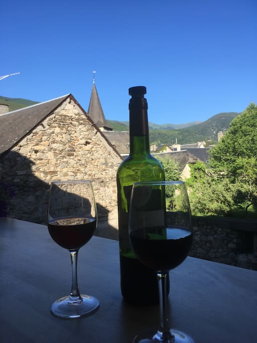 Enjoy a glass of wine and the mountain views from the balcony