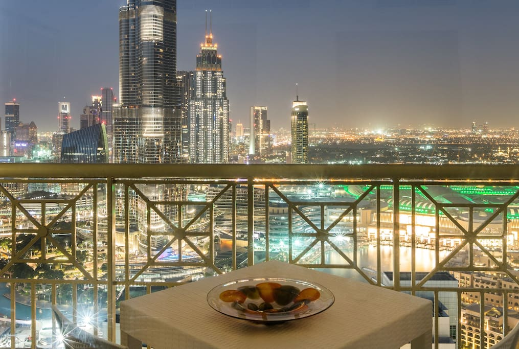 As a host, I personally guarantee these views from the apartment or your money back! Full views of Burj Khalifa and the Dubai Fountain!