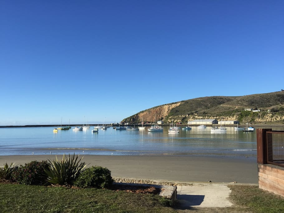 Friendly Bay & Oamaru Harbour. A two hundred meter walk from the apartment. The penguin colony is set into the hillside on the far side of the harbour.