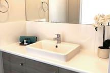 Bathroom Two - three way bathroom with separate vanity, separate toilet and separate shower & bath.