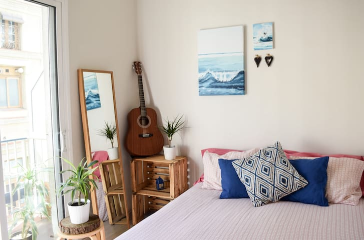 Bright room , double bed , little private balcony