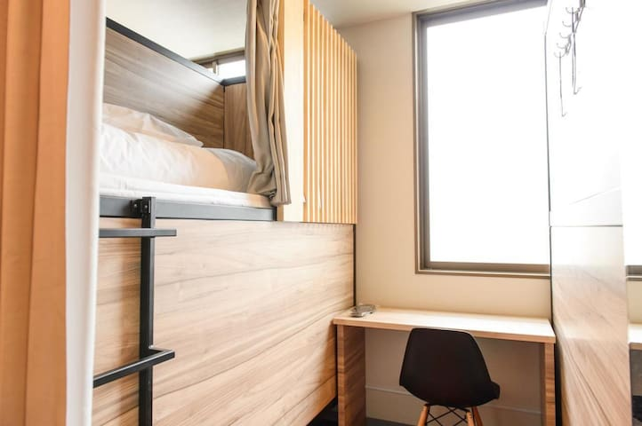 [Free breakfast] Mix semi-compartment room Direct connection from Ebisu-cho  station!
