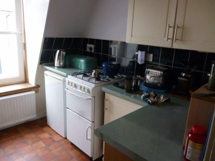 Gas cooker, fridge, freezer, washing machine,  microwave, ketttle, toaster, blender, coffee bean grinder, high quality utensils, crockery etc
