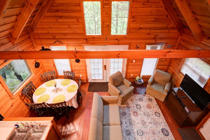 View from upstairs of Hidden Chalet Cabin located in the Red River Gorge, Kentucky