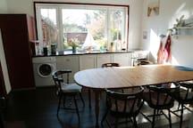 Küche und Fenster zum Garten