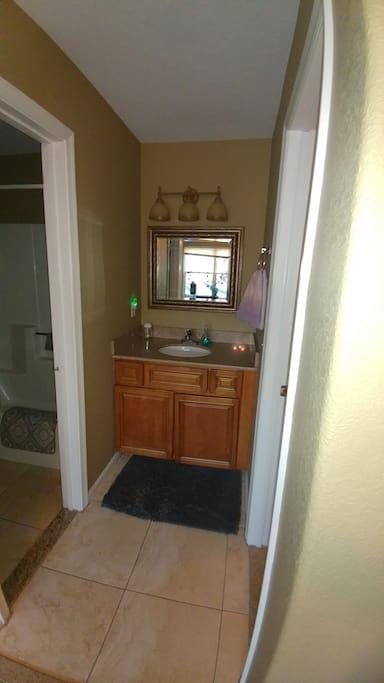 Sink and vanity.