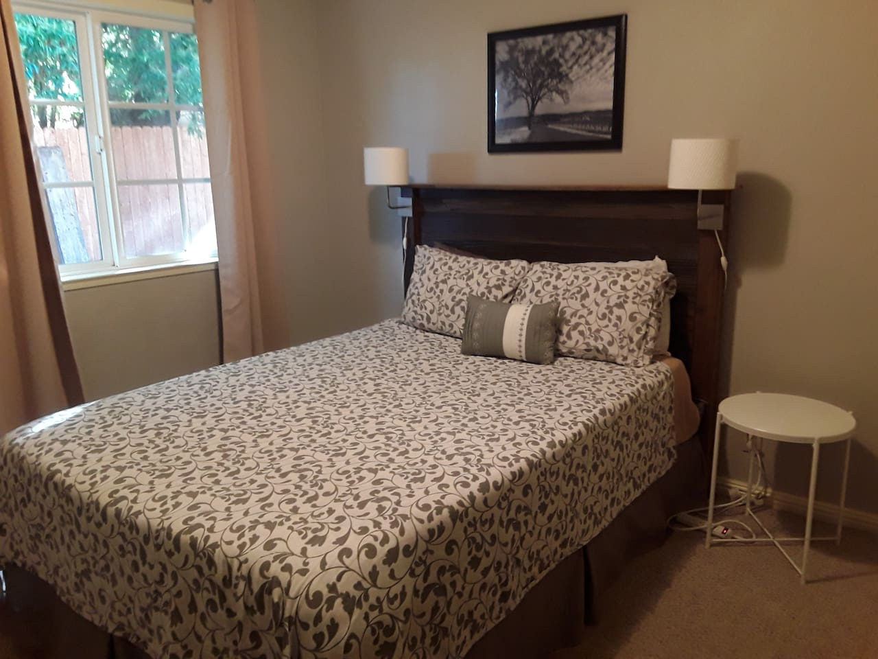 Comfortable bed with black-out curtains. Reclaimed cedar headboard. Full closet and dresser. Plenty of storage.