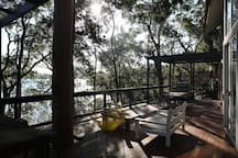 Large entertaining deck with lake views