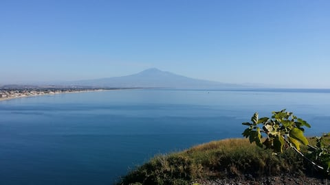 View of the volcano Etna from the garden