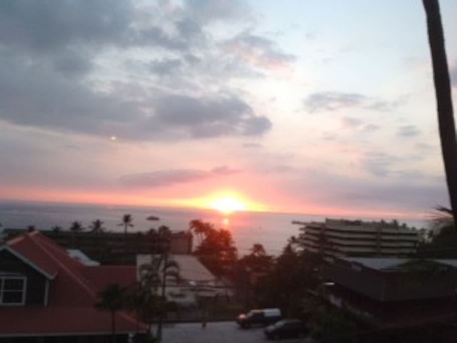 View of famous Kona sunset from dining room.