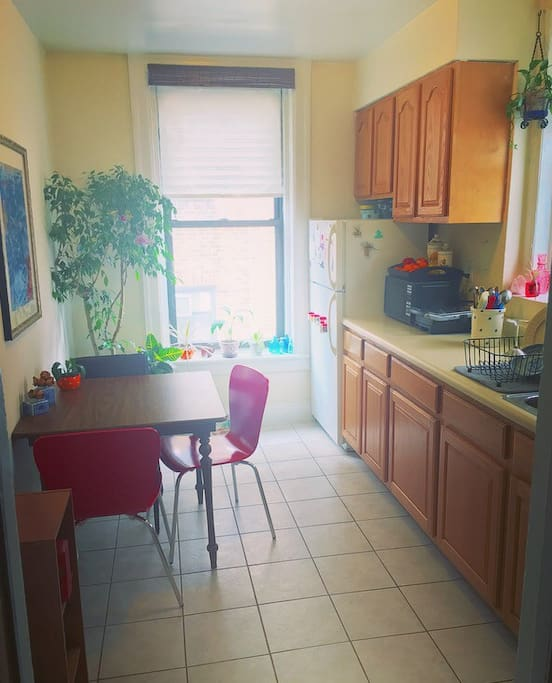 Sunny, Eat-In Kitchen, Dishes, Utensils, Stove, and Oven are Available.