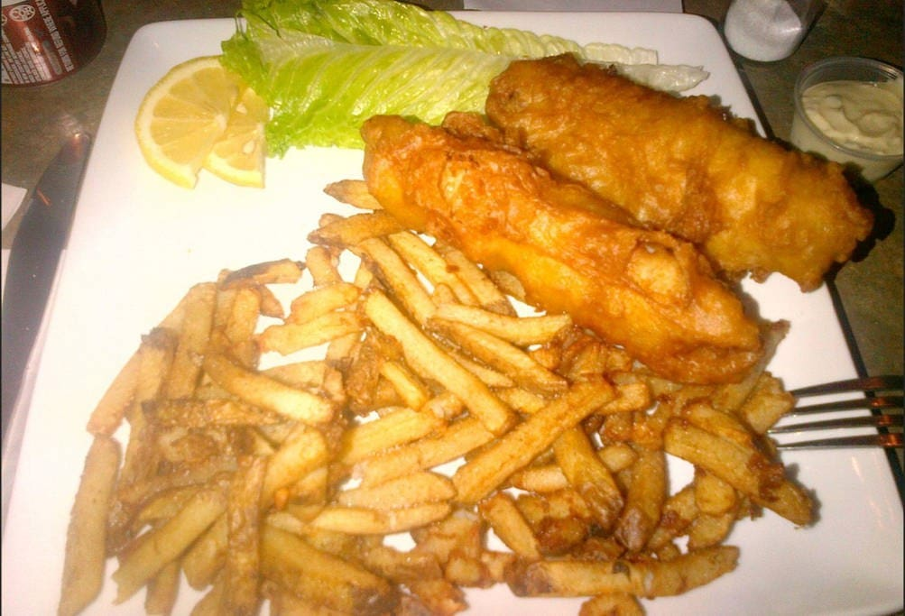 A delicious meal of fish 'n' chips from the Celtic Knot