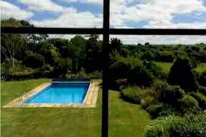 Lovely room overlooking pool with luxury bathroom