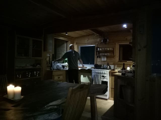 The kitchen is rustic but equipped well enough.