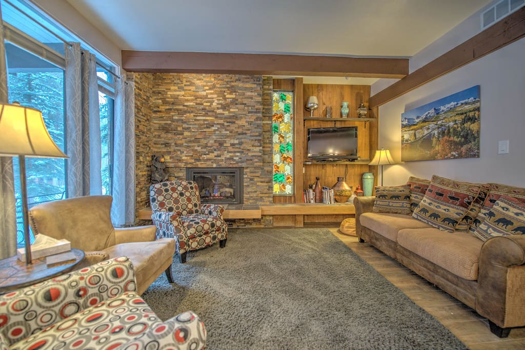Living Room, cozy gas fireplace