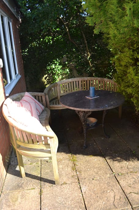 Your private outside seating area in the garden. You are welcome to smoke here.