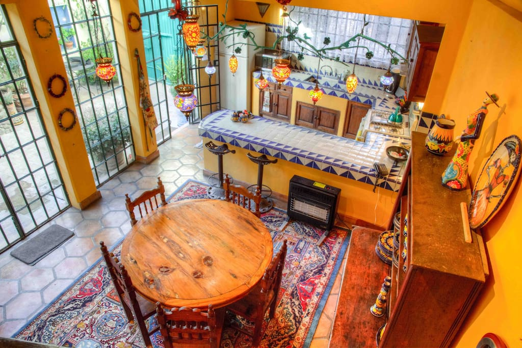 View of kitchen and Turkish lites from stairwel