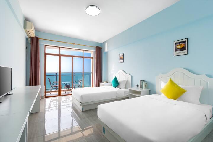 三亚湾/天涯海角景区+免费有限停车位+花筑时光晨曦海景双床房