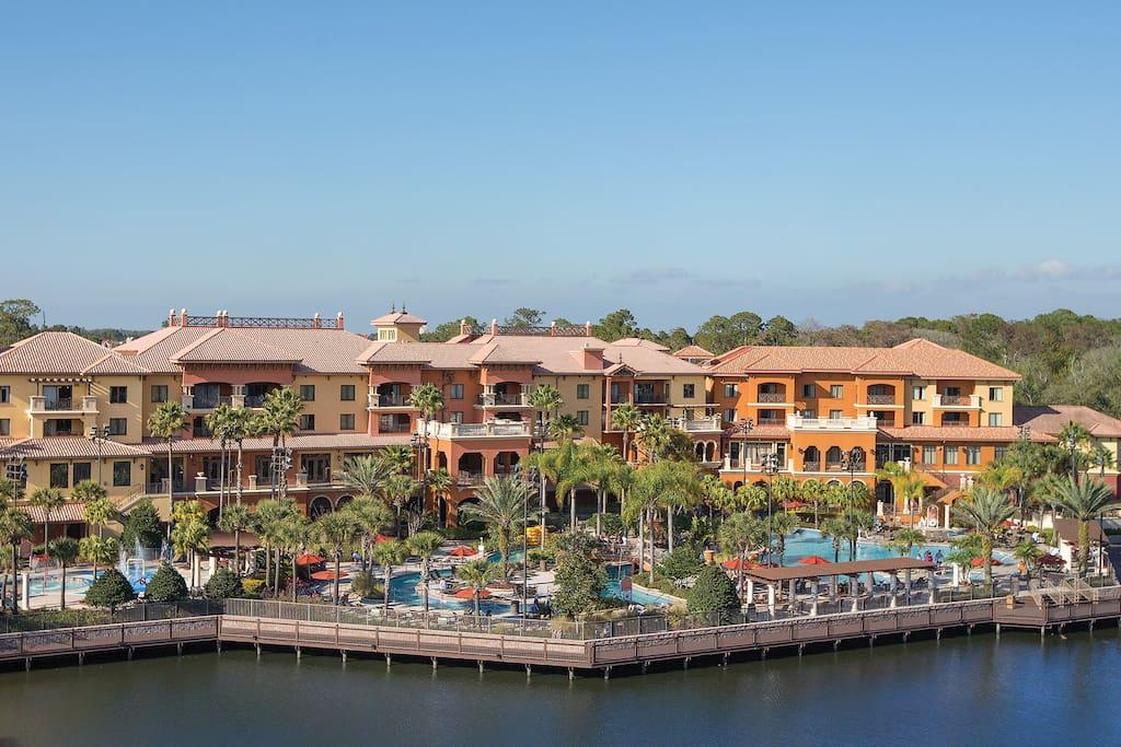 Wyndham Bonnet Creek Resort from the lake.