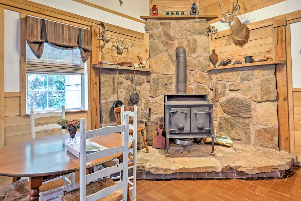Play cards and warm up at night by the wood-burning stove.