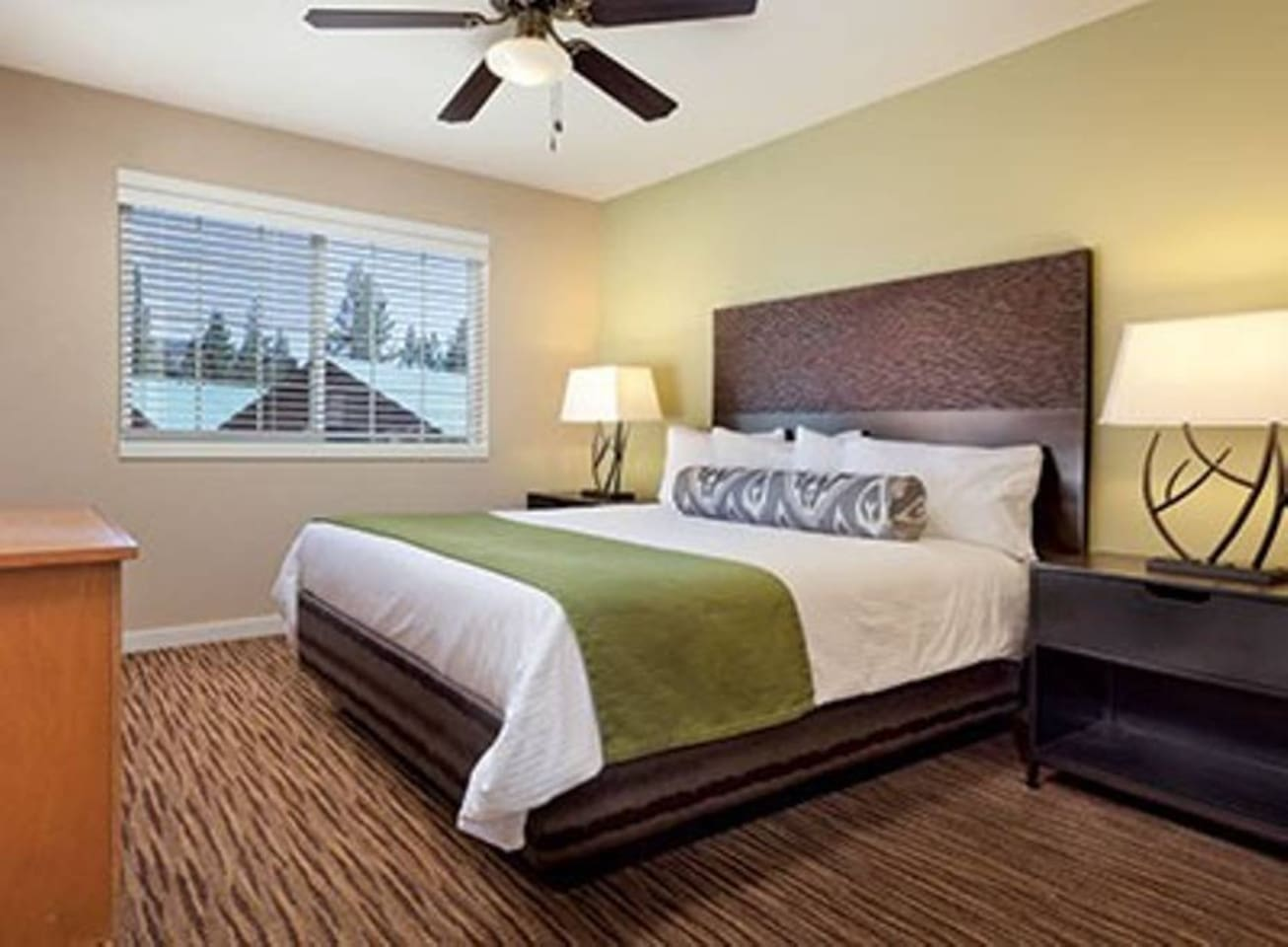 Master bedroom has a comfortable king size bed and a full bath.