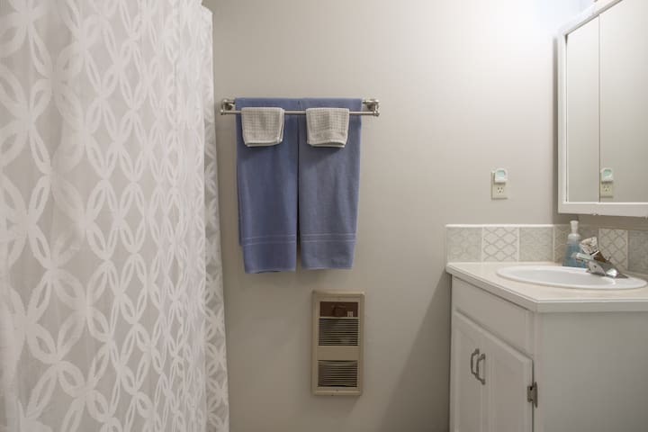 Downstairs bathroom with tub/shower combo
