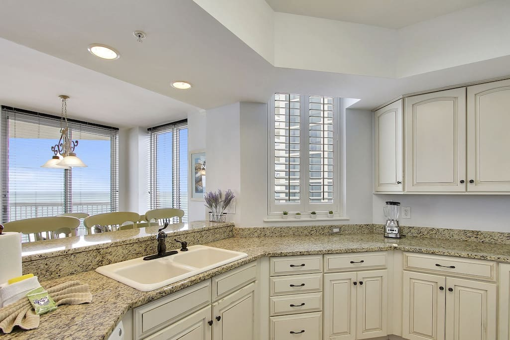 Kitchen is open and overlooks the Gulf of Mexico
