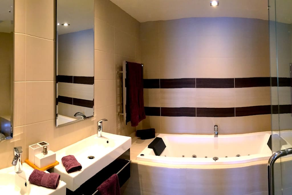 Completely private en suite spa bathroom includes shower and a 2-person jetted bath.