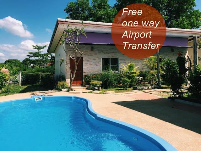 Double Room with A/C+ FREE1 way airport transfer