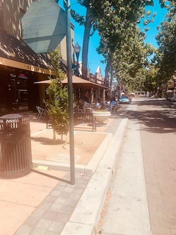 Leisure walk to historical Sunnyvale Downtown to enjoy varieties of restaurants, gourmet coffee, bookstores, boutique shops.